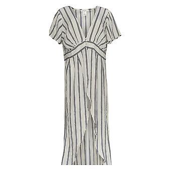 K Jordan Women's Plus Top Striped Flyaway Long Black /White