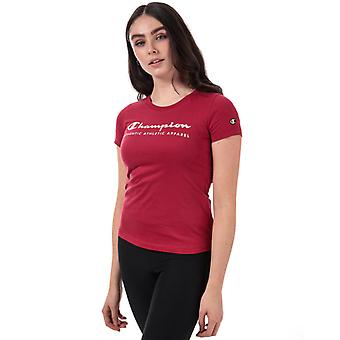 Women's Champion Peached Light Cotton T-Shirt in Red