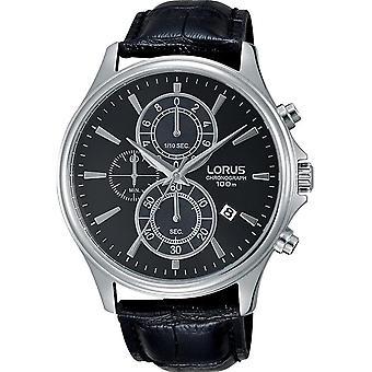 Lorus RM313DX-9 Black Leather Chronograph Wristwatch