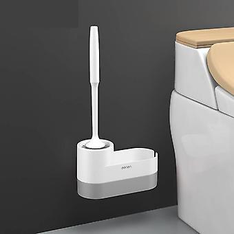 Silicone macio montado na parede - Escova de limpeza do banheiro com suporte
