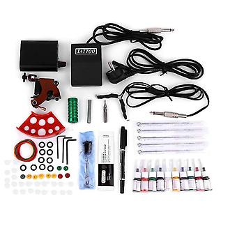 Complete Tattoo Kits Professional Gun Machine Power Pedal in 10 Color - Ink Sets Nutrition Disposable Needle Gripping