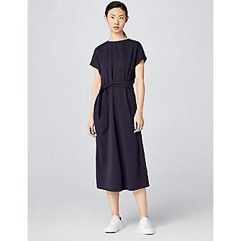 MERAKI Women's Relaxed Fit Maxi Wrap Dress, Navy, EU XS (US 0-2)