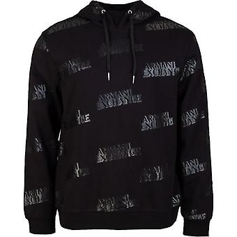 Armani Exchange All Over Logo Pop Over Hooded Top