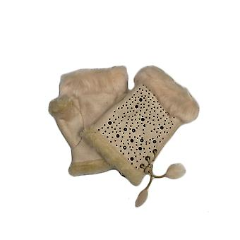 Womens Fingerless Gloves Winter Warm Fitted Faux Fur Suede Thermal Soft Cosy New