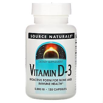 Source Naturals, Vitamine D-3, 5 000 UI, 120 Capsules