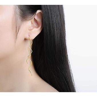 Acefeel Fresh Style Exquisite Threader Dangle Earrings Curve, Gold, Size No Size