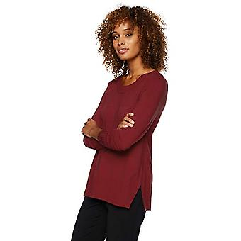 Brand - Lark & Ro Women's Long Sleeve Crewneck Side-Slit Sweater, Burg...