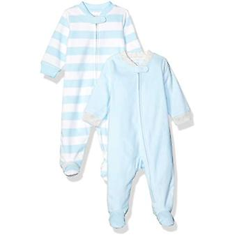 Essentials Baby Boys 2-Pack Microfleece Sleep and Play, Blue and White...