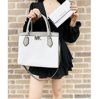 Michael kors mott large satchel bright white mk grey + trifold wallet set