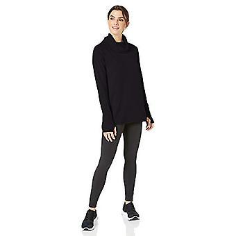 Essentials Women's Studio Terry Long-Sleeve Funnel-Neck Tunic, Graphite, S