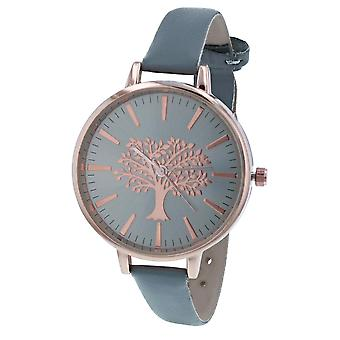 Thomas Calvi Ladies Analogue Grey Dial With Rosegold Tone Tree Of Life Design Thin Grey PU Strap Watch Buckle Closure TCW252C
