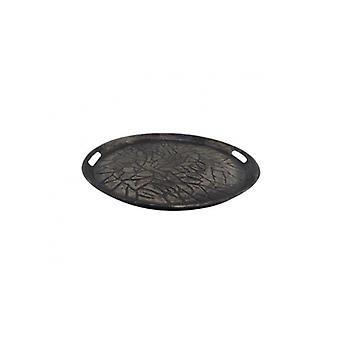 Deco4yourhome Round Tray 28x28x3 Silver Antique