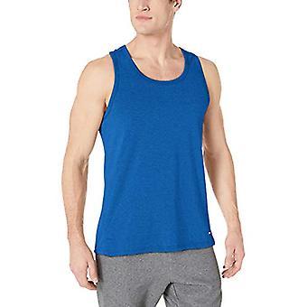 Essentials Men's Performance Cotton Tank Top Shirt, True Blue, Medium