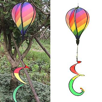 Rainbow Stripe Windsock Hot Air Balloon Wind Spinner Outdoor Kids Toy