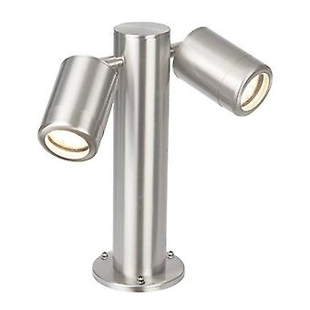 2 Ljus utomhus kustpollare post marin kvalitet borstat rostfritt stål, glas IP65, GU10