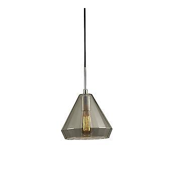 Medio Cono Soffitto Ciondolo E27 Croma lucidato, Smoke Black Glass