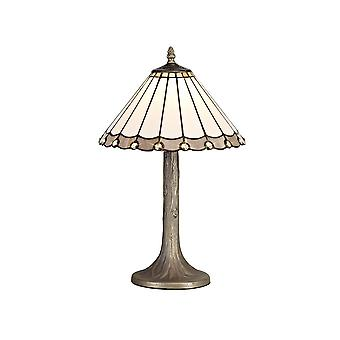 1 Light Tree Like Table Lamp E27 With 30cm Tiffany Shade, Grey, Crystal, Aged Antique Brass