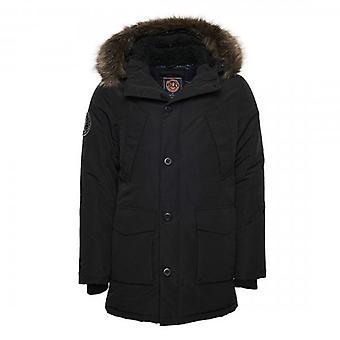 Superdry Black Everest Parka Coat 02A