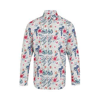 Jenson Samuel Grey & White Floral Print Regular Fit Cotton Shirt