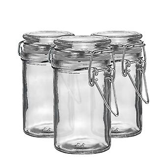 Argon Tableware Glass Spice Jars with Airtight Clip Lid - 70ml Set - Clear Seal - Pack of 3