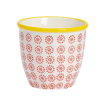 Nicola Spring Hand-Printed Plant Pot - Japanese Style Porcelain Indoor Outdoor Flower Pot - Red - 14 x 12.5cm