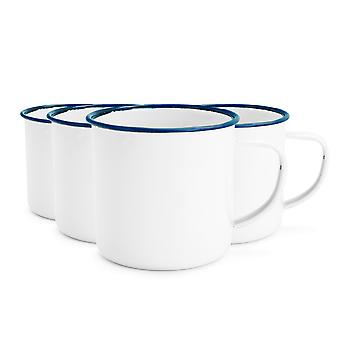 Rink Drink White Émail Espresso Coffee Mugs - 150ml - Blue Trim - Pack de 4