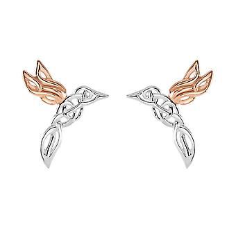Heritage sterling sølv keltiske skapninger kolibri rose gull plate øredobber 4253RG