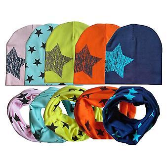 Winter Spring Baby Hat Scarf Set- Cotton Baby Cap Star Print Kids Hats, Nouveau-né