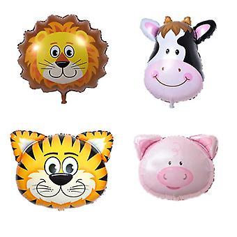 Eläinten ilmapallot 4-pakkaus Lion Tiger Cow Pig