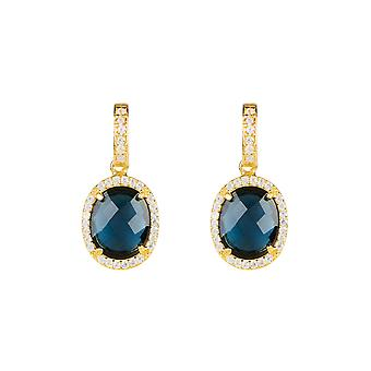 Earrings Gold Sapphire Blue Stud Gemstone Dangle Gift Silver 925 Statement Bold