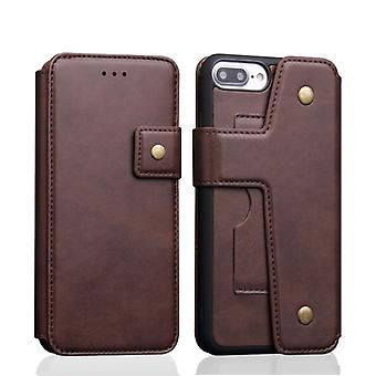 Cowhide Texture Magnetic Absorption Detachable Horizontal Flip Leather Case for iPhone 8 Plus & 7 Plus, with Holder & Card Slots & Wallet (Coffee)
