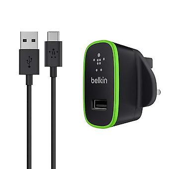 Belkin USB-C to USB-A 10 W Cable with Universal Home Mains Charger (Black/Green)