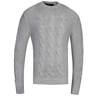 Barbour Gold Standard Lennox Grey Cable Knit Sweatshirt