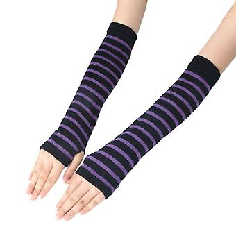 Knitted Fingerless Long Gloves/stripes, Printed Over Elbow Length Winter