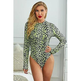 Green Leopard Print Mock Neck Long Sleeve Bodysuit