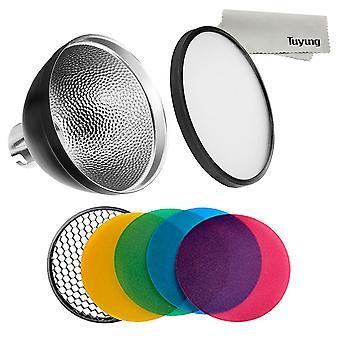 Reflector estándar Godox ad-s2 con difusor suave y paquete de gel de filtro de color de fotografía ad-s11 para w