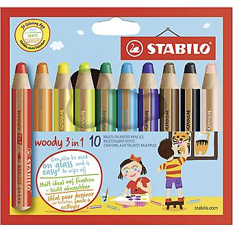 Multi-talented pencil stabilo woody 3-in-1 wallet of 10 assorted colours