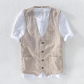 Mans Vintage Linen Suit Vest Slim, Male Casual Striped Thin Waistcoat