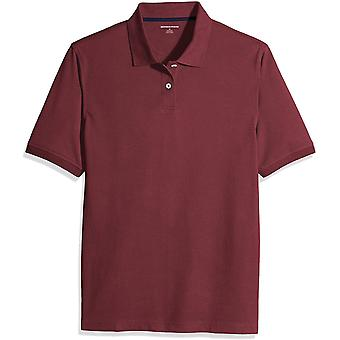 Essentials Menn's Regular-Fit Bomull Pique Polo Skjorte, Port, Medium