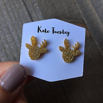 Sparkly Reindeer Stud Acrylic Earrings