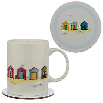 Porcelain mug and coaster gift set - portside seaside