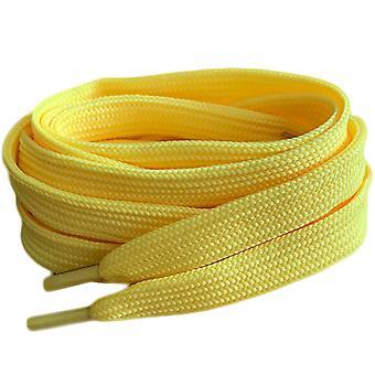 Lacets de lacets jaunes d'entraîneur plat