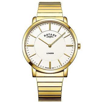 Giratório Londres Mens Ouro aço inoxidável expandindo GB02766/03 relógio do bracelete
