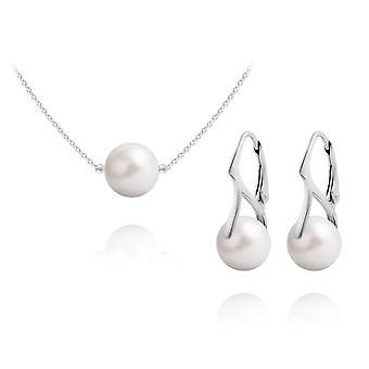 Zilveren en witte parel hanger ketting sieraden set