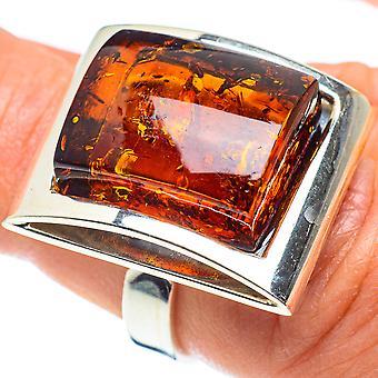 Tamanho do anel âmbar báltico ajustável 6(925 Sterling Silver) - Handmade Boho Vintage Jewely RING58282