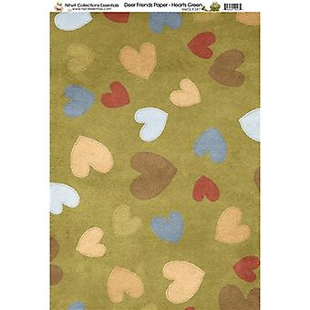 Nitwit Collection - DF Hearts Green Paper A4 10 Sheets