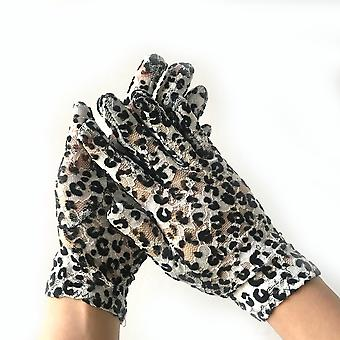 Lace Gloves Sun Protection Breathable Leopard Pattern Gloves Black