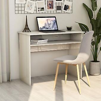vidaXL Bureau brillant-blanc 90×50×74 cm panneau de particules