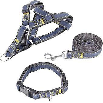 Cowboy Dog Traction Talutushihna Koiran rintahihna Koiran kaulus Kolmiosainen puku Paksu kulumista kestävä koko S