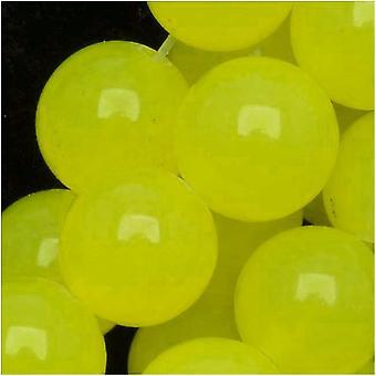 Ædelsten Perler, Candy Jade, Runde 8mm, 15 Tommer Strand, Lemon Yellow
